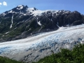 Exit Glacier near Seward AK. We were able to catch a view every so often on the trail up to Harding Icefield.