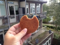 Our host in Amsterdam gave us a bunch of these things. They are a waffel-ly caramel-ly type of snack.