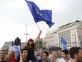 """Lots of EU flags were used during the """"yes"""" protest. People were generally happy and smiling."""