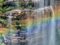 A rainbow at Wentworth Falls in the Blue Mountains of Australia.