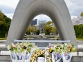 Monument at the Hiroshima Peace Park. The Atomic Dome is straight ahead.