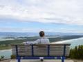Enjoying the scenery on top of Mt. Manganui in New Zealand.
