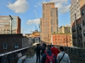 Highline in NYC. It's a rail line converted into a walking park.