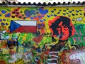 The John Lennon wall in Prague. It started as a place to promote peace when Prague was under communist control.