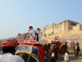 Riding an elephant to the Amber fort in Jaipur!