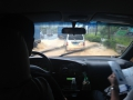 River fording in a van. The monsoon rains flooded a lot of the roads.