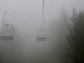 We took a super creepy ride on a chairlift in the fog.