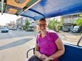 Riding around in the tuk-tuk in Ayutthaya, Thailand.
