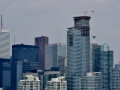 Downtown Toronto with some of the old brutalist buildings and the new glass buildings.