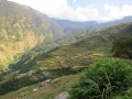The village of Thulo Sypharu. The terraces are wheat fields. The entire village is built up the hillside.
