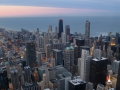 The view of Chicago from the Willis (Sears) Tower around sunset.