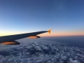 Early morning flight and sunrise on the plane.