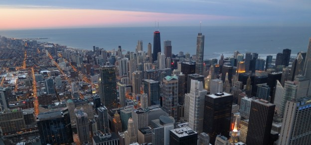 The-view-of-Chicago-from-the-Willis-Sears-Tower-around-sunset