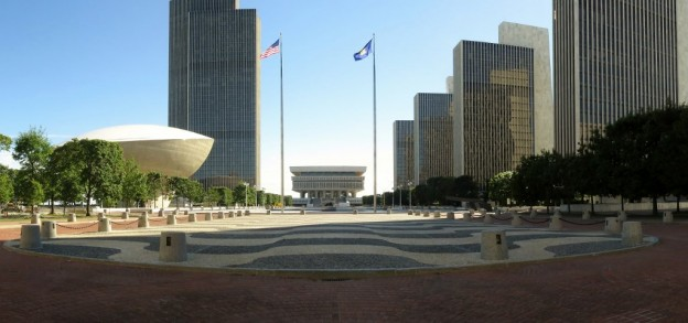 Rockefeller-Plaza-area.-The-egg-shaped-thing-to-the-left-is-called-the-Egg.-The-rest-of-the-buildings-are-government-buildings